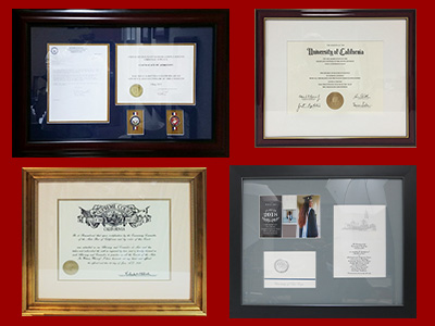 We offer a wide range of framing options for diplomas, special documents and professional papers.