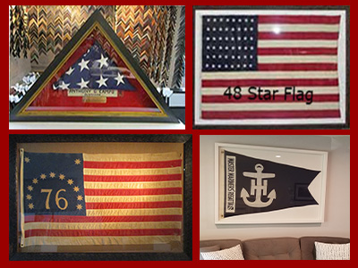 We frame flags of any kind and shape. We make custom triangle flag boxes for military flags.