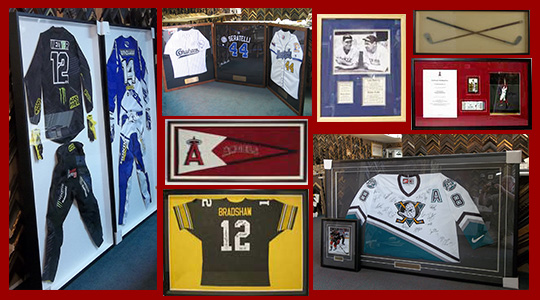 We frame sports jerseys and memorabilia for local professional and  amateur athletes as well as sports fans 