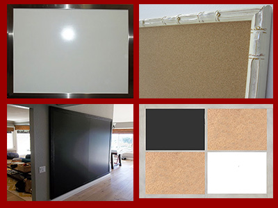 Cork board - chalkboard - white dry erase marker boards - combination boards