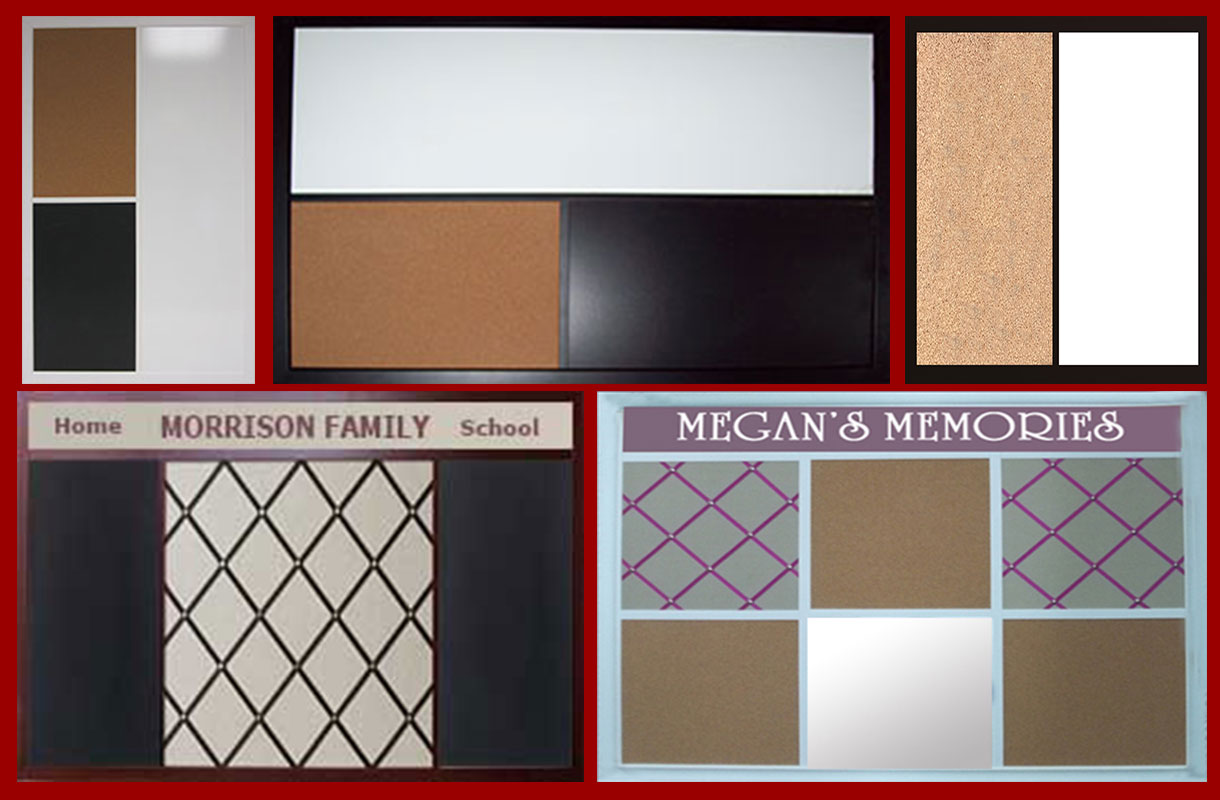custom combination boards in any size with any combination of cork chalk or dry erase material.