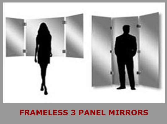 Frameless 3 Panel Mirrors