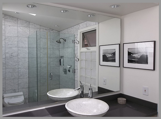 Create custom frameless beveled and flat polished mirrors to your exact size